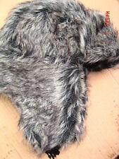 Grueso cálido completo forrado de piel sintética Ruso Gorro Trapper Gris