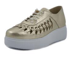 EXTON Scarpe Donna Stringate Francesine Sneaker Pelle Oro Suola Platform 4 cm