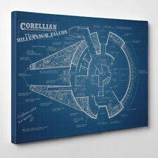 Halcón Milenario Planos Lienzo Enmarcado Impresión De Arte Star Wars Barco Han