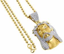 Diamond Jesus Face Pendant 10K Yellow Gold Mini Pave Religious Charm 3.41 Ct.
