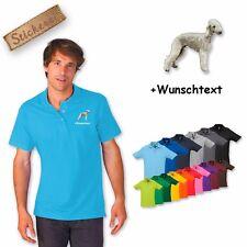 Polo camicia ricamata cotone ricamo cane Bedlington + Testo a scelta