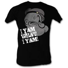 Popeye T-shirt - Yam What I Yam Profile Adult Black Tee Shirt