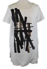 MARINA RINALDI by MaxMara Farrier White Graphic Short Sleeve Tunic Top $530 NWT