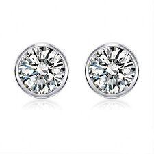 925 Sterling Silver Round Cut Cubic Zirconia Full Edged Bezel Set Stud Earrings