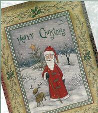 Folk Santa Claus ~ Merry Christmas Tapestry Afghan Throw