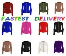 Ladies womens plus size tailored ZIP up peplum ruffle frill JACKET blazer top ^Z