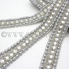 SILVER BEADED  Rhinestone trimming,edging,trim,sequins,beads,embellishment,stone