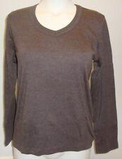 Damen warmes Langarmshirt dünner Pullover leichtes Sweatshirt braun M / L NEU