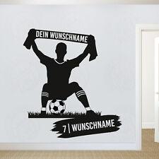 Wandtattoo Fussballer Fanschaltext Wunschname Wunschnummer Kinderzimmer Fußball