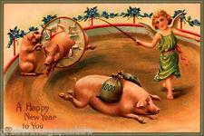 CHERUB PROSPEROUS HAPPY NEW YEAR PIGS PORK BAGS OF MONEY VINTAGE POSTER REPRO