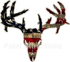 Distressed American Flag Zombie Deer Skull Vinyl Sticker Decal buck whitetail US