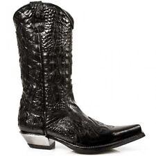 Newrock New Rock 7921 S1  Black Leather Flame Cowboy Biker Western Boots 7921