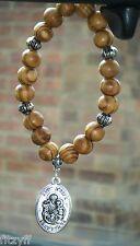 In Car Wood Wooden Beads & St Joseph Charm Saint Yosef Catholic Pendant Gift