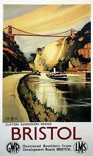 CLIFTON SUSPENSION BRIDGE Bristol Vintage Railway/Travel Poster A1,A2,A3,A4Sizes