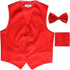 Hombre Motivo Cachemira Esmoquin Chaleco & Pajarita y Pañuelo Set Rojo