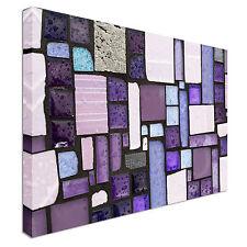 Glossy Glass Purple Mosaic Canvas Art Cheap Wall Print Home Interior