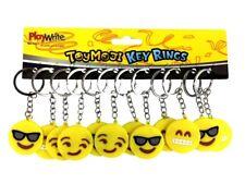 Novelty Smiley Face Emoji Silicone Soft Key Ring Chain Bag Keys Stocking Filler