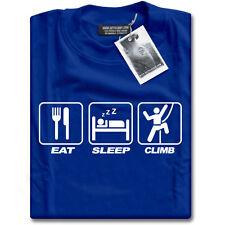 Eat Sleep Climb Mens Blue Mountaineering Rock Climbing T-Shirt Top NEW