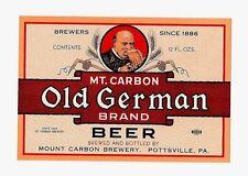 Mt Carbon Old German Beer Bottle Label Pottsville Pa
