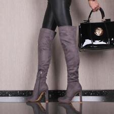 SEXY HOCHHACKIGE DAMEN OVERKNEE-STIEFEL AUS SAMT GRAU #E21073