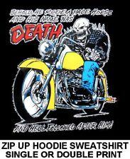 NAME WAS DEATH & HELL FOLLOWED HIM MOTORCYCLE BIKER SKULL ZIP HOODIE SWEATSHIRT