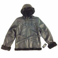P607 Wilda, Women 3/4 Long Leather Jacket, with Hoodie & Belt, Black