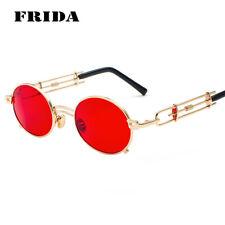 FRIDA Women Men Metal Oval Frame Steampunk Sunglasses UV400