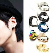 2pc Punk Mens Women Stainless Steel Hoop Huggies Ear Stud Earrings Gothic Usa