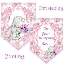Christening Bunting Garland Bunny, Girl Bunting, Pink Garland, Baby Bunting