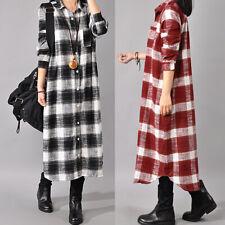 ZANZEA AU 8-24 Women Plus Size Tartan Long Maxi Kaftan Check Plaid Shirt Dress