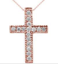 14k Rose Gold Milgrain Edged Diamond Cross Pendant Necklace (Small)