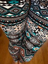 PONTI Mint Orange Navy Bordo AZTEC TRIBAL leggings pants thick Polyester S M L