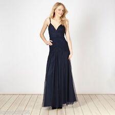 New Lipsy VIP Navy Blue Ruched Front Maxi Dress Sz UK 10  rrp £140