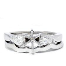 Pear Shape Diamond Bridal Set Setting Solid 14K White Gold