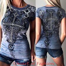 VOCAL Womens Vintage Burnout Stone Embellished Cross Graphic Biker Top Tee Shirt