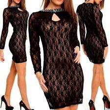 Sexy Miss Ladies Dress Lace Rhinestone DRESS 34/36 L XL 38/40 Black Brown
