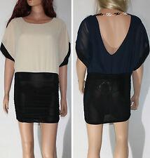 Sexy miniabito donna vestitino abito voile trasparente scollo schiena Made Italy