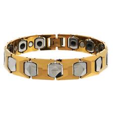 Men Women 13MM Tungsten CarbideTwo Tone Cushion Link Magnetic Bracelet