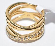 ECHTES Silber 925 Ring mit Zirkonia Steinen, vergoldet mit Gelbgold 5µ - Neuheit