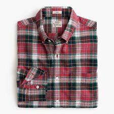 New J Crew American Cotton Slim Oxford Shirt Button Down Plaid Red Green NWT