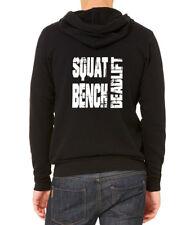 Men's Squat Bench Deadlift C9 Black Zipper Hoodie Workout Gym Fitness Powerlift