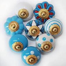 Pomos para Muebles Set 6-8-10 piezas maneja Azul Claro Blanco Cerámica Botones