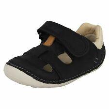 Clarks niños PEQUEÑO CENIZA CUERO AZUL MARINO Primer Zapato Cruisers