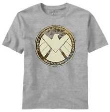 Avengers Movie Aged Shield Heather Grey T-Shirt