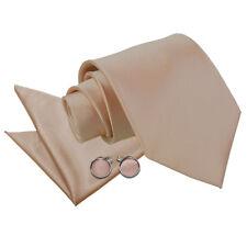 DQT Satin Plain Solid Mocha Brown Classic Slim Skinny Tie Hanky Cufflinks