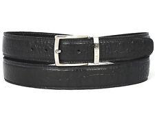 PAUL PARKMAN para hombre de piel de becerro cocodrilo en Relieve Cinturón Cuero Negro Pintado a Mano (