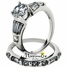 STAINLESS STEEL 2.50 CT ROUND CUBIC ZIROCNIA ENGAGEMENT WEDDING RING SET SZ 5-10