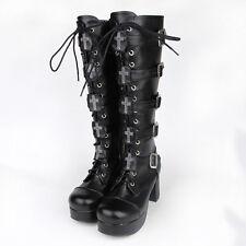 Schwarz Gothic Goth Steam-Punk Kreuz Damen-schuhe Plateau Stiefel boots Kostüme