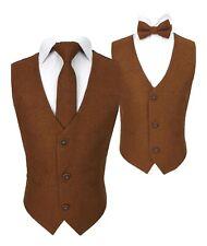 Flamingo Boys Mens Matching Wedding Tweed Waistcoat Set in Cinnamon Brown