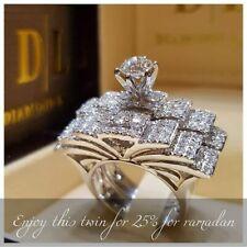 2PCS Women Butterfly Wedding White Sapphire Gemstone Ring Jewelry Set Size 6-10
